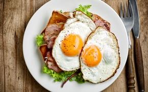 Картинка листья, яйца, тарелка, хлеб, нож, вилка, бекон, салат, bread, тосты, egg, salad, bacon