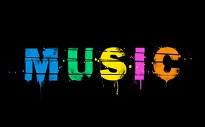 Обои минимализм, краски, music, фон, слово, музыка