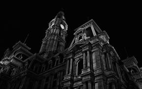 Картинка ночь, черно-белая, Часовня, Архитектура, Филадельфия, Пенсильвания