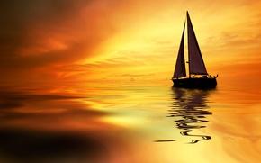 Обои море, тропики, парус