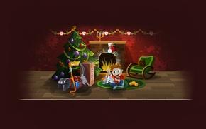 Обои елка, новый год, рождество, змея, мальчик, подарки, шлем, камин, new year, хоккей, коньки, merry christmas, ...