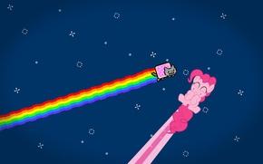 Картинка nyan cat, радуга, pinkie pie, звезды, аниме, кот