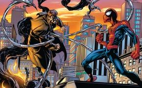 Картинка крыша, город, пожар, дым, дома, Нью-Йорк, небоскребы, комикс, Marvel Comics, Spider-Man, Peter Parker, Питер Паркер, …