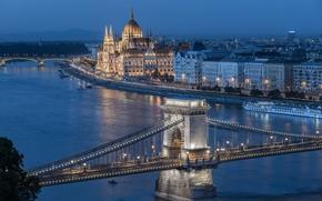 Картинка река, здания, мосты, набережная, теплоход, Венгрия, Hungary, Будапешт, Budapest, Цепной мост, Danube River, Здание венгерского …
