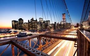 Картинка закат, нью-йорк, sunset, new york, usa, nyc, Brooklyn Bridge, Financial District