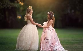 Картинка настроение, девочки, платья, две девочки