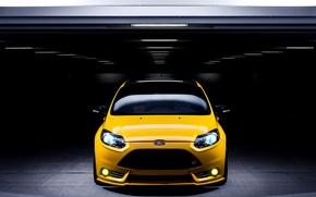 Картинка Ford, фокус, парковка, Focus, форд, yellow, front