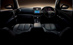 Обои машины, руль, кабина, салон, cars, widescreen walls, сидения mazda atenza 2011, коробка передачь, мазда