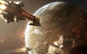 Картинка space, stars, planet, spaceships, damaris