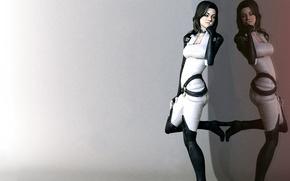 Картинка отражение, минимализм, Miranda Lawson, Mass Effect, fan art, Миранда, Цербер