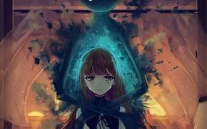 Картинка девушка, закат, комната, аниме, арт, призрак, школьница, daikazoku63