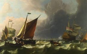 Картинка парусники, морское сражение, Морская баталия