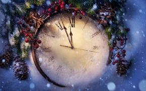 Картинка зима, снег, праздник, Новый Год, Рождество, Christmas, New Year, clock