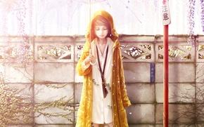 Картинка листья, девушка, забор, зонт, арт, рубашка, плащ, bouno satoshi