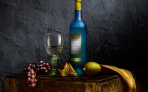Картинка натюрморт, лимон, виноград, бокал, Bottle of wine, вино