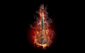 Обои дым, креатив, скрипка, огонь