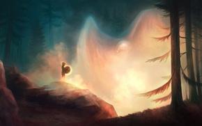 Картинка лес, птица, человек, дух, арт, орёл, шаман