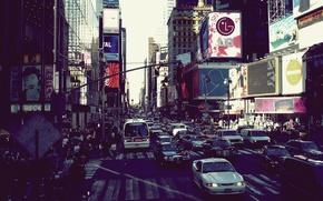 Обои city, город, движение, мегаполис, new york, оживленность