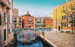 Картинка улица, здания, дома, Италия, Венеция, канал, мостик, Italy, bridge, street, Venice, architecture, Italia, Venezia, canal