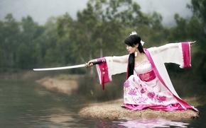Картинка девушка, оружие, katana