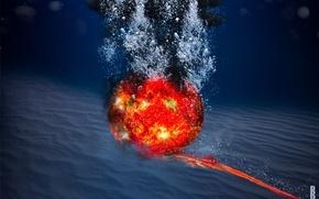 Картинка вода, солнце, пузыри, планета, дно
