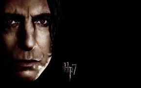 Картинка лицо, чёрный фон, Harry Potter, Северус Снейп, HP 7, Alan Rickman, Алан Рикман, Severus Snape, …
