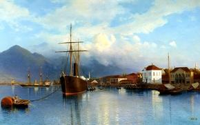 Картинка небо, вода, облака, горы, корабль, пристань, бухта, лодки, живопись, Батум, Лагорио Лев