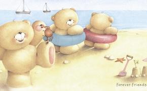 Картинка море, лето, улыбка, настроение, арт, мишка, детская, Forever Friends Deckchair bear