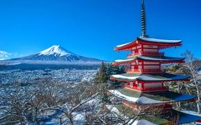 Обои Фудзияма, гора, вулкан, Japan, Фудзиёсида, зима, Mount Fuji, панорама, Фудзи, Япония, пагода, Chureito Pagoda, Fujiyoshida