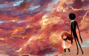 Обои небо, облака, закат, бабочка, тень, аниме, арт, девочка, girl, deemo, lyiet