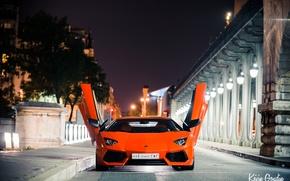 Картинка ночь, город, огни, Франция, Париж, Lamborghini, Ламборджини, Ламборгини, LP700-4, Aventador, Авентадор