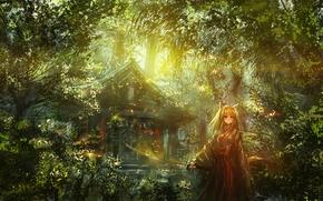 Картинка свет, заросли, листва, катана, храм, жрица, ушки, святилище, Fox girl