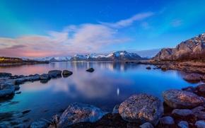 Картинка вода, пейзаж, горы, природа, камни, Норвегия, залив, Лофотенские острова