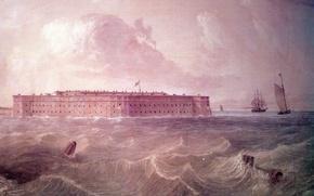 Картинка war, fortress, america, illustration, civil, civil war, Harbour, fort, fort taylor, painter, century