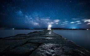Картинка небо, звезды, свет, маяк, остров, атлантический океан, USА