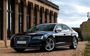 Картинка Ауди, Машина, Черная, Car, Автомобиль, Black, Wallpapers, Красивая, Обоя, UK-Spec, Audi S8