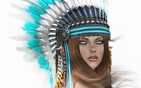 Картинка взгляд, девушка, лицо, фон, волосы, перья, головной убор