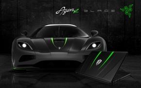 Картинка Auto, Green, Black, White, Wallpaper, Hi-Tech, Razer Blade, Koenigsegg Agera R