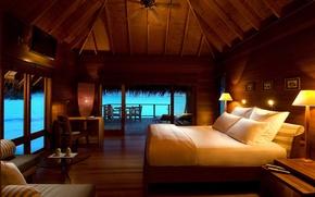 Картинка море, отдых, кровать, подушки, бунгало, светильники