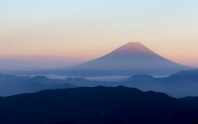 Картинка горы, туман, рассвет, утро, вулкан, Япония, Фудзияма, Fuji