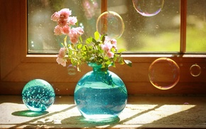 Картинка bubbles, blue, still life, vase, roses