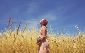 Картинка поле, лето, девушка, лицо, платье