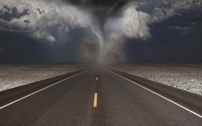 Картинка дорога, тучи, ураган, разметки