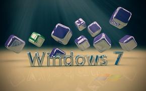 Картинка компьютер, текст, металл, кубик, куб, операционная система, windows. 7