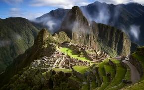 Картинка небо, облака, руины, древний город, Южная Америка, Перу, Мачу-Пикчу