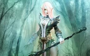 Картинка лес, Девушка, доспехи, посох, эльфийка