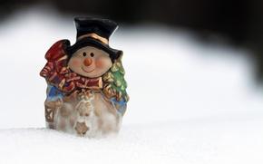 Картинка снеговик, новый год, снег, фигурка