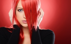 Картинка взгляд, девушка, лицо, фон, руки, красные волосы