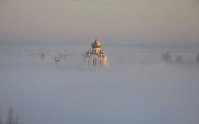 Обои туман, храм, пейзаж, купола