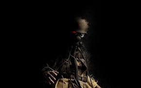 Обои хобот, Trooper, красный глаз, каска, солдат, звезда, противогаз